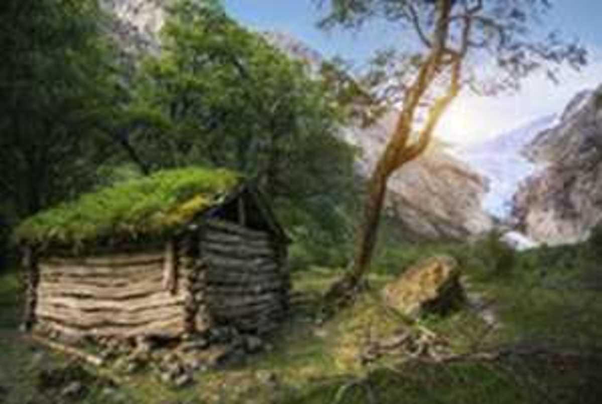 Do telhado t%c3%adpico da grama do noruegu%c3%aas casa velha de madeira no panorama da geleira 50528271